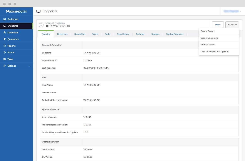 Malwarebytes Cloud Platform: Endpoint Properties
