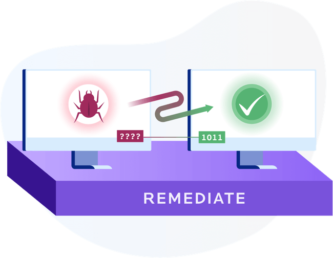 Infected endpoint made healthy via remediation, including decryption and restoration of information encrypted by ransomware