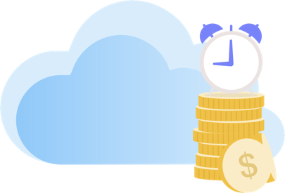 Alarm clock stacked on top of gold coins with a light blue cloud background.