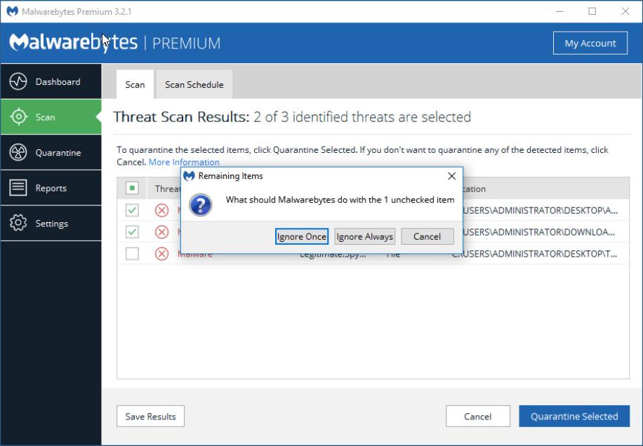 Malwarebytes for Windows Help - Dashboard