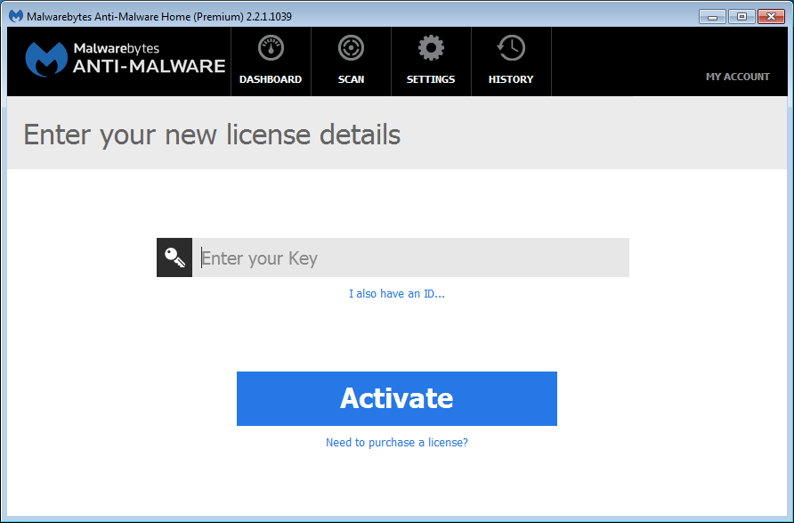 Malwarebytes Anti-Malware Help - View License Details