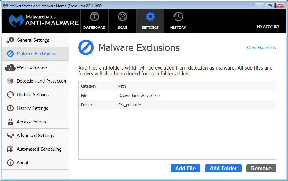 Malwarebytes Anti-Malware Help - Malware Exclusions
