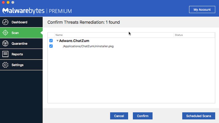 Screenshot of Malwarebytes for Mac threat detection