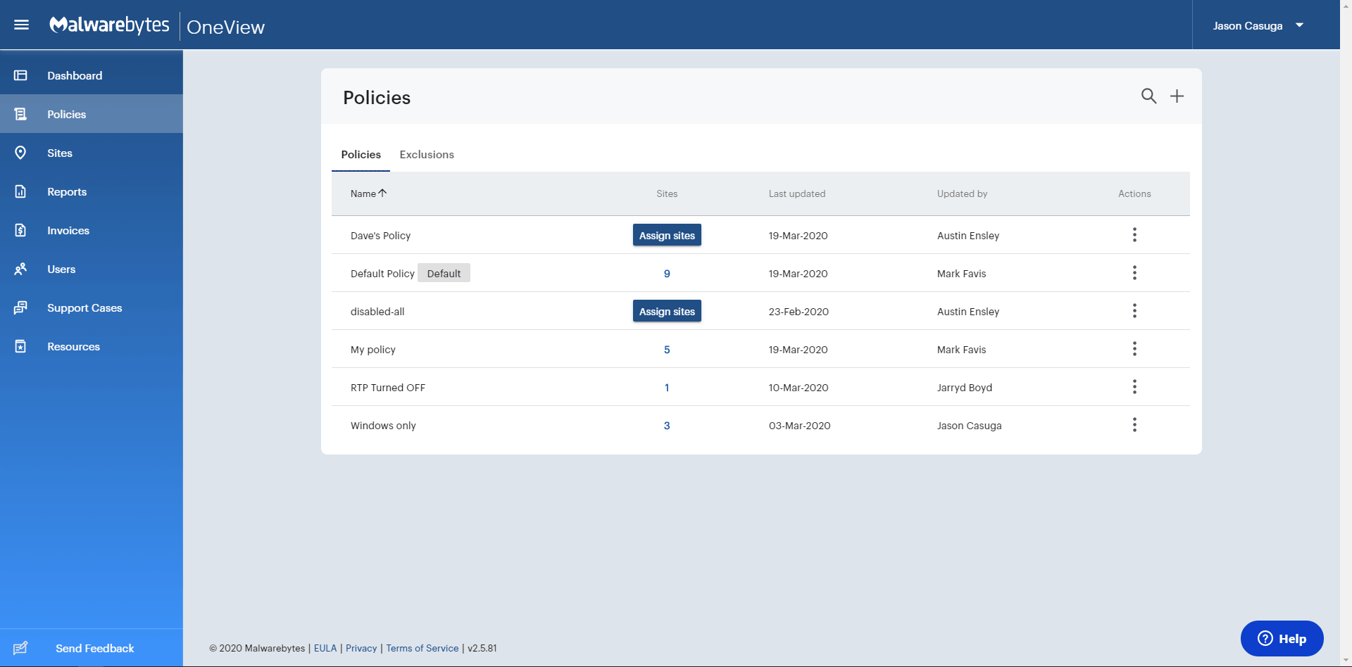 OneView dashboard displaying list of users and ability to edit roles