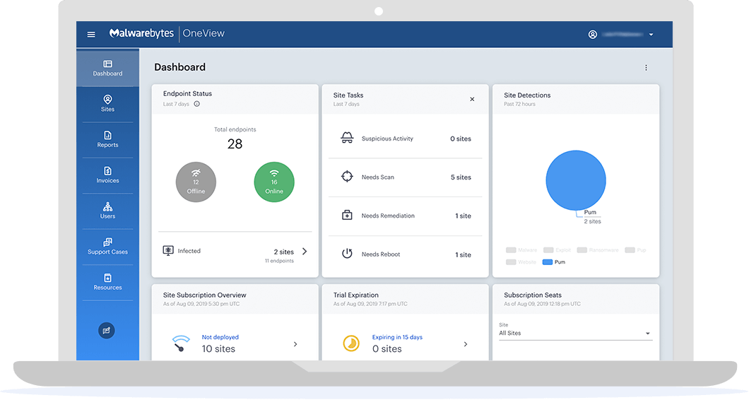 Laptop displaying OneView Dashboard with site status, trial expiration, subscription seats, & utilization trend by product