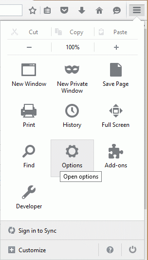 Restore Browser: Firefox settings