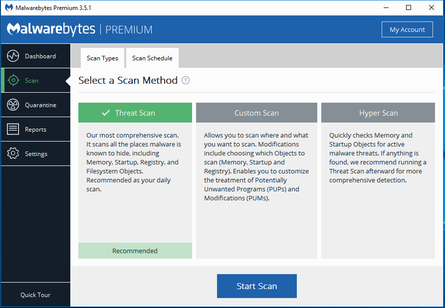 Malwarebytes Premium select scan method screenshot