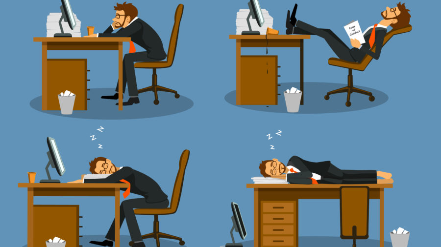 Person laying in different positions on desk