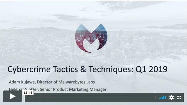 Malwarebytes Cybercrime Tactics and Techniques Q1 2019
